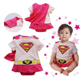 Baby boy girl rompers 100% Cotton Autumn long sleeve Superman Rompers with Cloak Bebe custume toddler baby costume