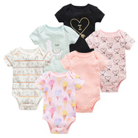 Honeyzone 6PCS/lot Summer New Born Baby Boy Clothes Set 100%Cotton ropa para bebe High Quality Body Baby Girl Clothes Jumpsuits