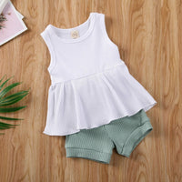 Summer Cute Infant Clothing 2020 newborn baby girl clothes Sleeveless Solid Vest Dress+Shorts Pants Outfits roupa bebe