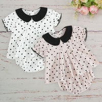 Summer Cotton Newborn Girl Clothes Set Black Dot Round Neck Puff Sleeve Tops Pant Two Pieces Suit Carnaval Baby Naninhas Bebe