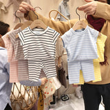 Newborn Baby Girl Clothes Sets Ribbed Cotton Bebes Meninos Unisex Kids Vetement Infant Fille Baby Summer Clothing Boy Clothes