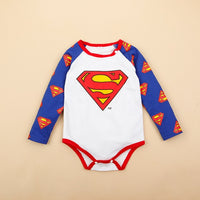 Retail 1 piece Overalls New Born Baby Rompers bebe roupas infantis menina Infant toddler jumpsuits Superman Long Sleeve CLothes