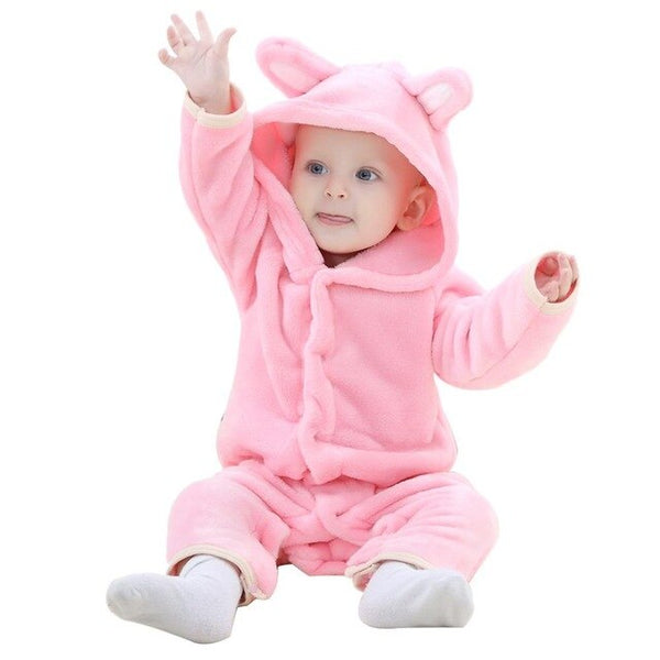 Newborn Autumn Romper Baby Girl Clothes Flannel Hoodid Sleepwear Boys Kids Cartoon Warm Rompers Bebes Winter Clothes Costumes