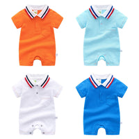 Baby Rompers Fashion Turn-Down Neck Short Sleeve Newborn Boys Bebes Jumpsuits Clothes Outfits 0-12M Toddler Infant Overalls Wear
