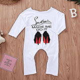 New Born Baby Girl Jumpsuit High Heel Print Little Girls Clothing Long Sleeve Baby Toddle Clothes Pajamas  Robe Bebe Fille