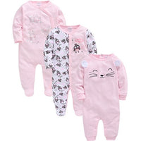 2019 Winter Keep Warm Baby Girl Clothes Cotton Full Sleeve Cartoon Print Stitching ropa de bebe Baby Girl Romper Infant Jumpsuit