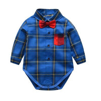 IYEAL Gentleman Baby Boys Bodysuit With Bowtie Plaid Long Sleeve Cotton Toddler Clothes 0-18M Newborn Infant Body Bebe Clothing