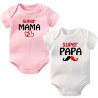 OkayMom 2pcs Baby Boys Girls Rompers Infant Clothing 100% Cotton Romper Roupas de bebe Supper PaPa MaMa Newborn Baby Clothes Hot