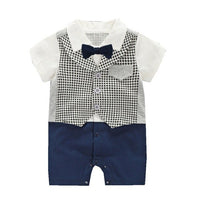 Baby Newborn 2019 Summer Rompers Infantil Bebes Gentleman First Birthday Happy Wedding Overalls Boys Baby Outfist Jumpsuit 0-18M
