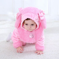 Baby girl Clothes pink dog Winter Rompers 2019 Overall Halloween Cute Animal Hooded Jumpsuit Costume macacao Bebe Inviernos
