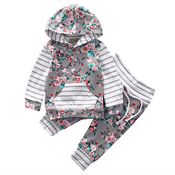 Floral Newborn Infant Baby Boy Girl Clothes 0-24M Infant Bebes Long Sleeve Hooded Shirt Tops Pant 2PCS Bebek Giyim Clothing Set