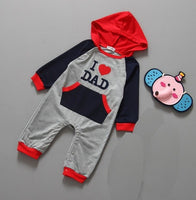 Autumn Baby Boys Long Rompers Bebe Girls Hooded Jackets Shirts I Love Dad Mom Outfits Overall Toddler Romper Jumpsuits