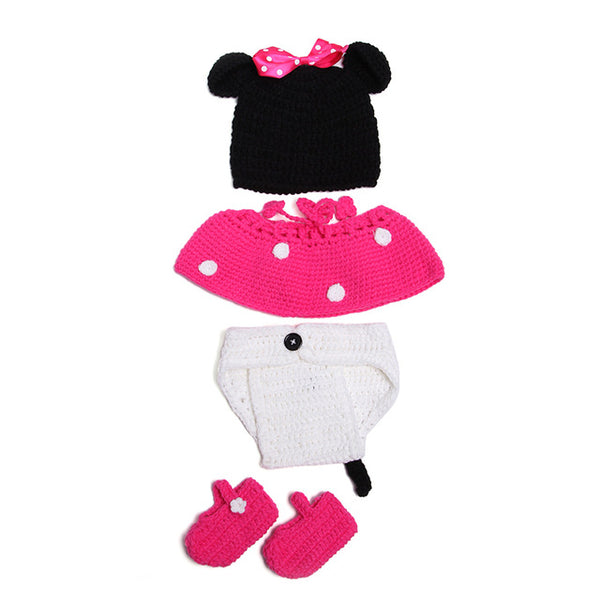 Handmade Knitting Baby Clothing Sets Boy Girl Knitted Clothes Infant Photography Props Suit Bebe Cartoon Cosplay Costumes Outfit