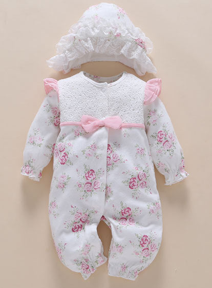 Newborn Baby clothes&Rompers 0 3 6 Months Long Sleeve White Baby Clothes Girl cotton print flower baby clothes sets ropa bebe