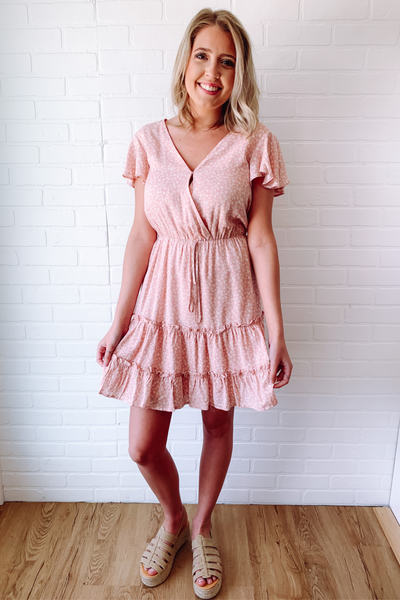 Woman's Blush Floral Dress- Women's Blush Pink Dress- $45