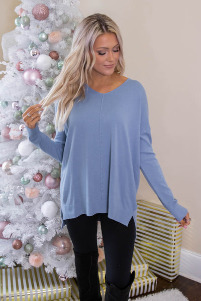 Luxuriously Soft Sweater- Denim Sweater Feels Like Butter- $34