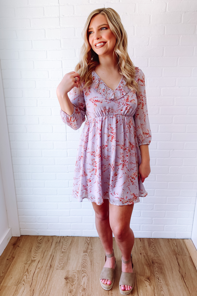 Lavender Printed Dress- Cute Spring Dress- $44