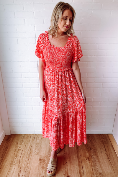 Women's Red Midi Dress- Women's Summer Floral Print Dress- $46