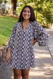 Women's Snakeskin Tunic- Long Sleeve Snakeskin Tunic- $44