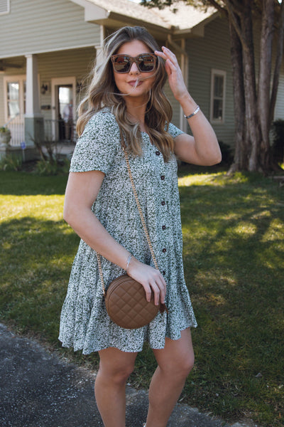 Cute Olive Floral Dress- Flowy Dress For Women- Cute Babydoll Spring Dress- $44