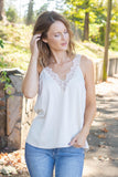 Ivory Satin Lace Tank Top- Women's Ivory Lace Cami- $34