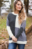 Color block Sweater- Grey Multi Knit Sweater- $42- Juliana's Boutique