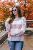 Cute Pink Stripe Sweater- Women's Soft And Oversized Sweater- $45
