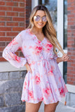 Fun Purple Floral Print Dress- Floral Long Sleeve Dress- $45