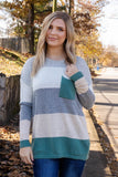 Women's Hunter Green Striped Sweater- Super Soft Stripe Sweater- $40