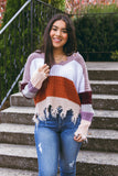 Distressed Stripe Sweater- Colorful Stripe Sweater- Women's Distressed Sweater- $45