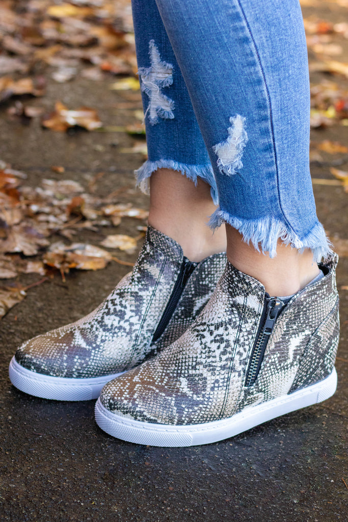 Snakeskin Sneaker Wedges- Women's Trendy Sneaker Wedges- $34