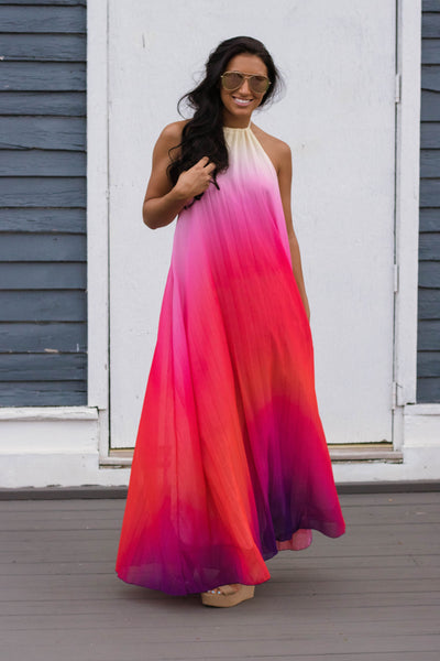 Trendy Sunset Maxi Dress- Pink Ombre Maxi Dress- Open Back Maxi- $45