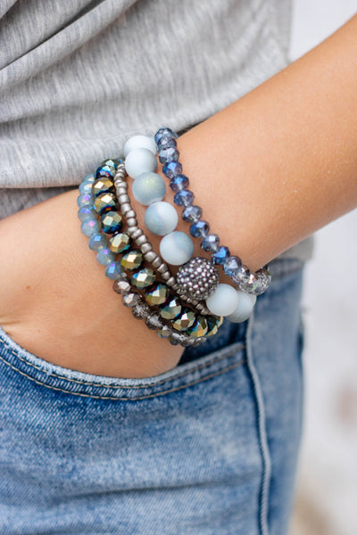 Navy Blue Bracelet Set- Women's Beaded Bracelet Set- $18