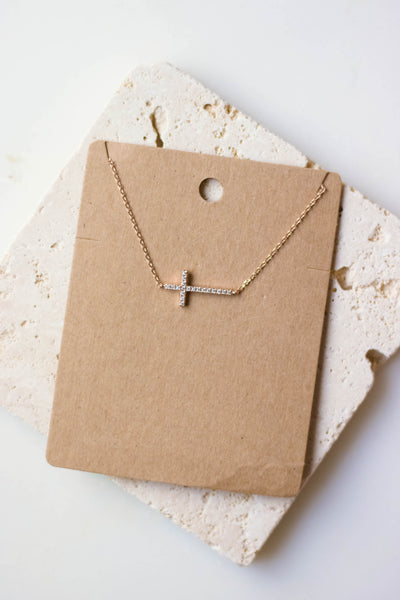 Dainty Rose Gold Necklace- Rose Gold Sideways Cross Necklace- $16- Juliana's Boutique