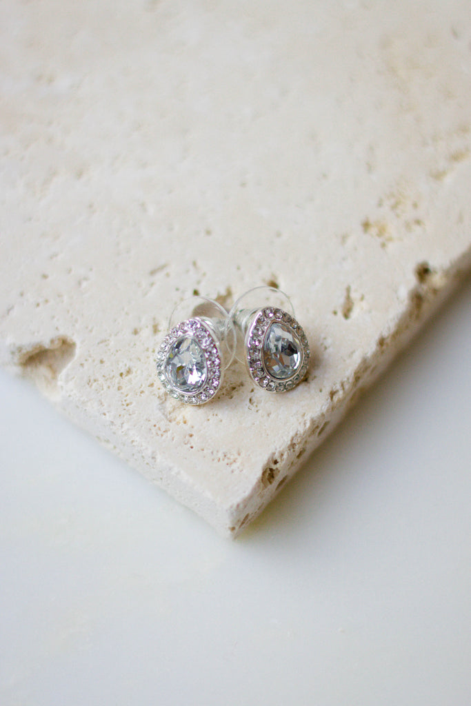 Stunning Silver Rhinestone Earrings- Pear Shaped Studs- $12- Juliana's Boutique