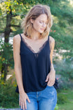 Stylish Black Lace Cami- Lace Trim Tank Top- $34- Juliana's Online Trendy Boutique