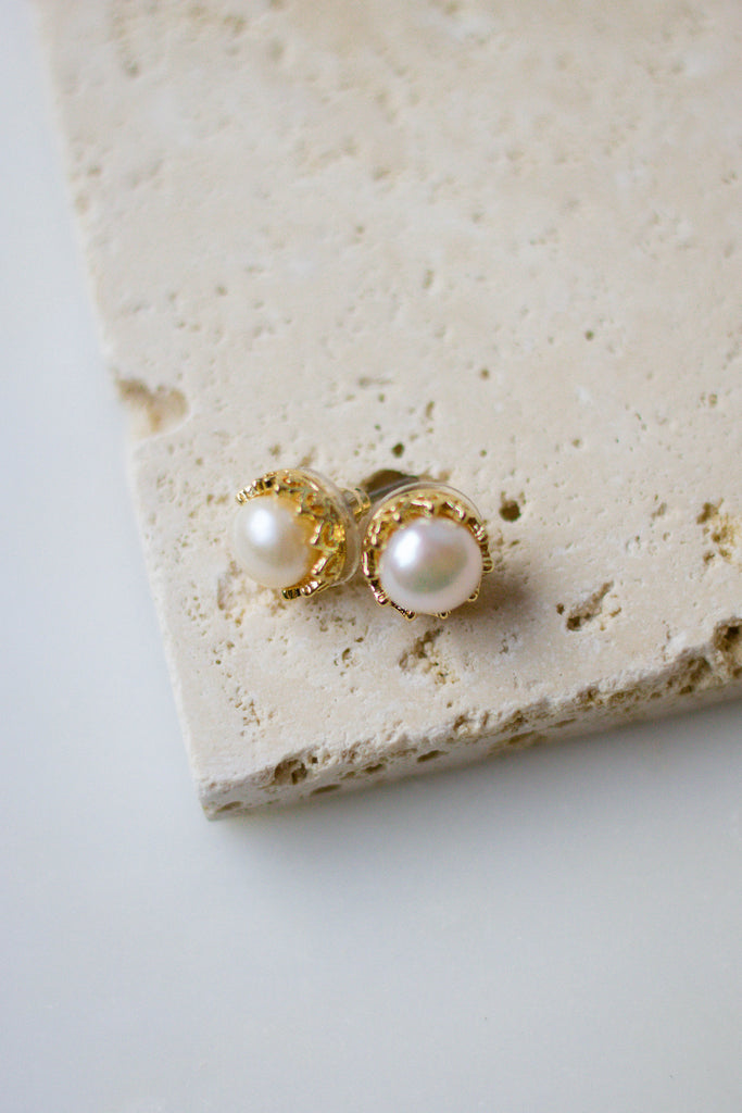 Pearl Stud Earrings- Gold and Pearl Stud Earrings- $12- Juliana's Boutique