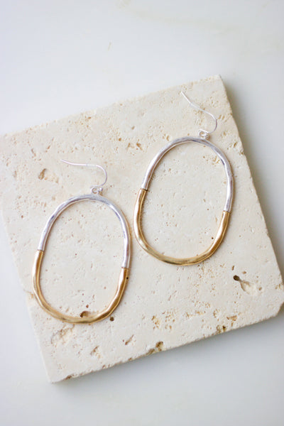 Gold And Silver Hoop Earrings- Silver And Gold Oval Hoops- $16- Juliana's Boutique