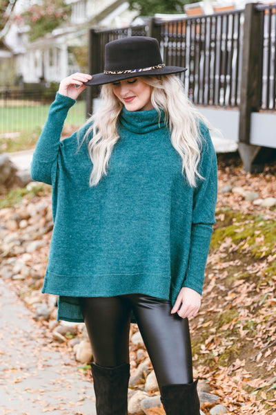 Comfy Hunter Green Cowl Neck Sweater- Cute Oversized Sweater- $40