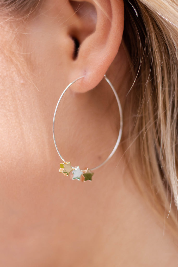 Women's Star Hoop Earrings- Cute Star Earrings- $14
