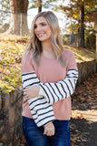 Casual Oatmeal Beige Top- Comfy Knotted Long Sleeve T-Shirt- $18- Juliana's Boutique