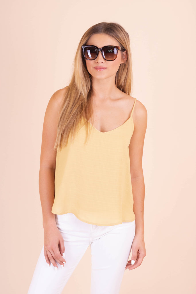Women's Woven Camisole Tank- Women's Yellow Tank Top- $28- Juliana's Boutique