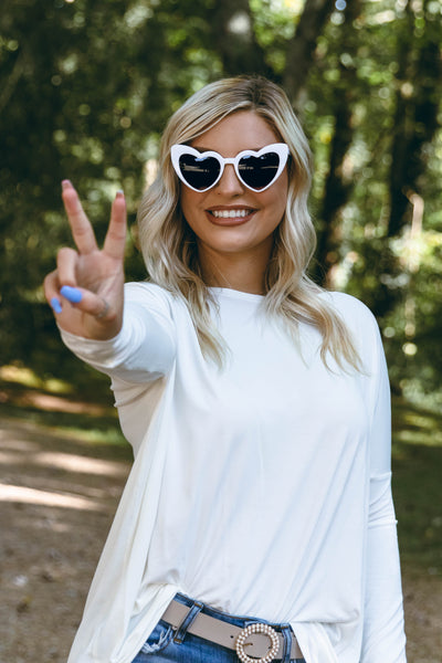 Heart Eyes For You Sunglasses-White