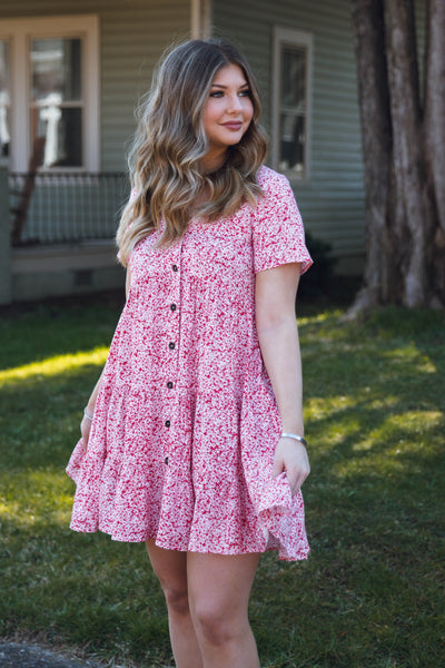 Cute Red Floral Dress- Flowy Dress For Women- Cute Babydoll Spring Dress- $44