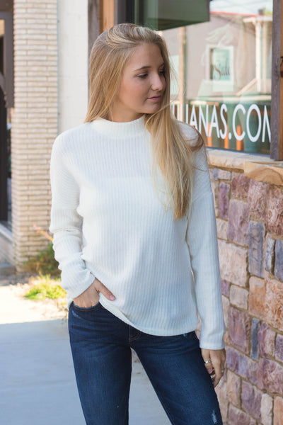 Trendy White Sweater- Mock Turtleneck Sweater- Knit Sweater- $26