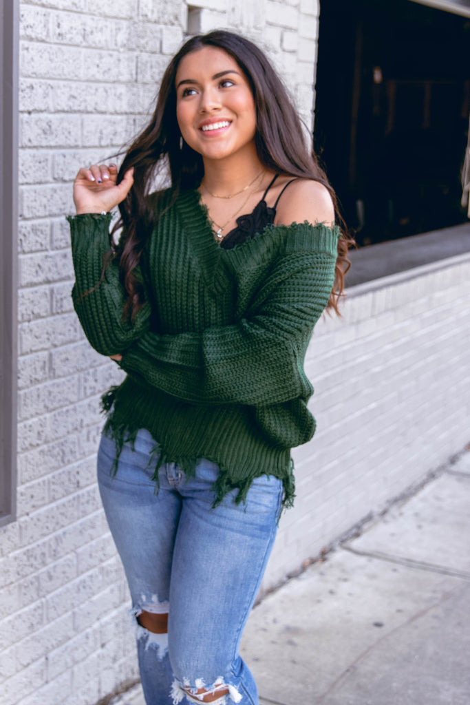 Trendy Hunter Green Distressed Sweater- Distressed Off The Shoulder Sweater- $40