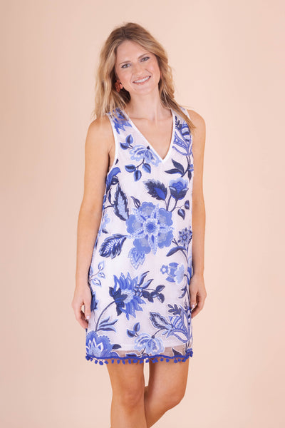 Royal Blue Shift Dress- Pretty Summer Dresses- Pom Pom Dress- $38