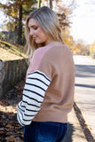 Women's Chic Fall Sweater- Women's Colorblock Sweater- Striped Sweater- $45
