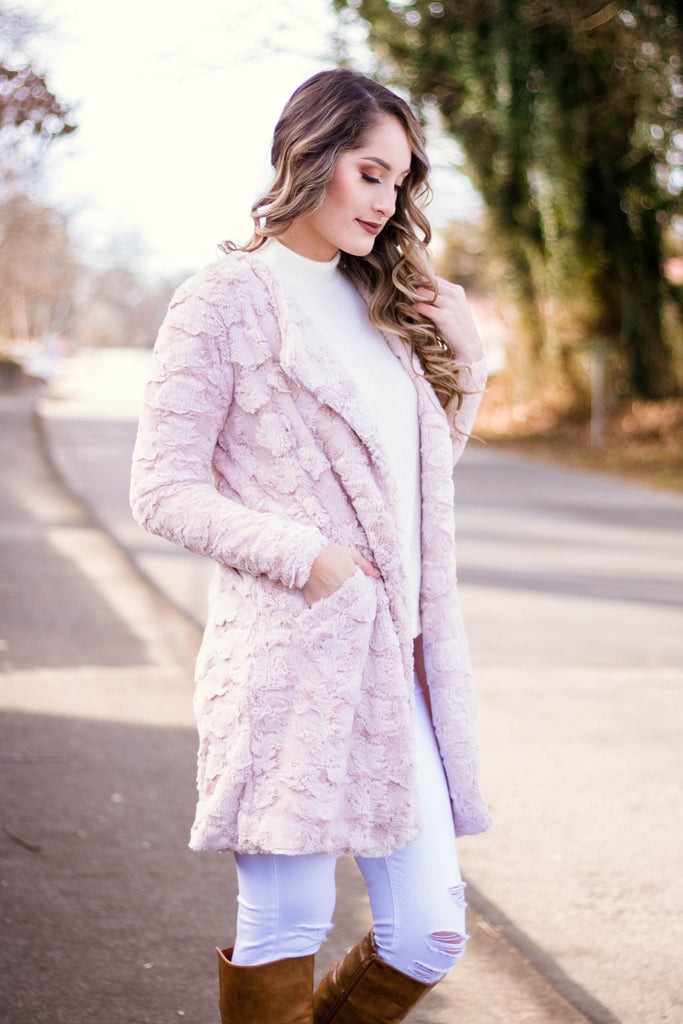 Luxurious Blush Pink Coat- Faux Fur Blush Pink Jacket- $48- Juliana's Boutique
