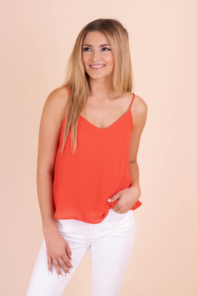 Women's Woven Camisole Tank- Women's Red Tank Top- $28- Juliana's Boutique